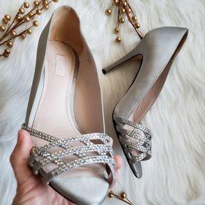 Glint satin peep toe stiletto heels pump sandals 7